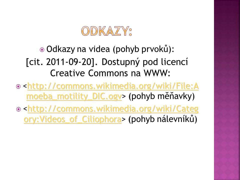 Odkazy: Odkazy na videa (pohyb prvoků): [cit. 2011-09-20]. Dostupný pod licencí Creative Commons na WWW: